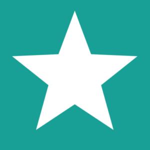 Icon von Köln gegen Rechts. 5-zackiger, weisser Stern auf grünem Hintergrund.